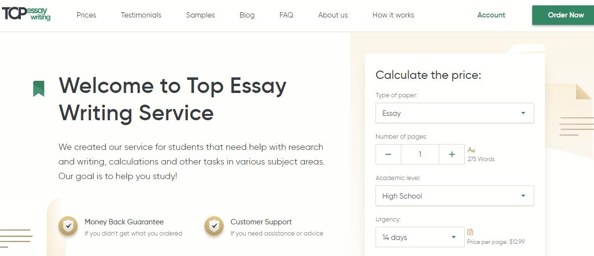Topessaywriting org homepage